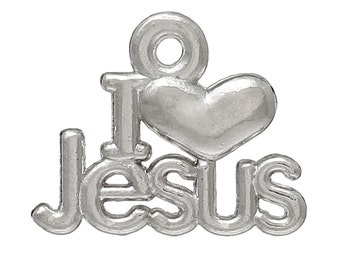 Pack of 10 I Love Jesus Charms (1812)