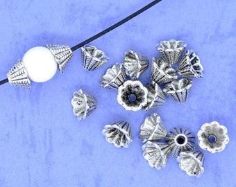 50 Antique Silver Flower Bead Cap/Cones 8x5mm (B166g)
