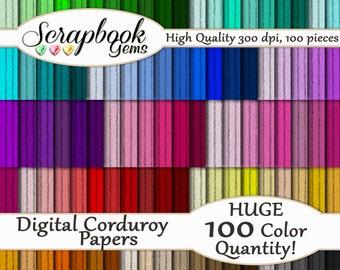 "100 Corduroy Digital Paper, 100 Pieces, 12"" x 12"", 300 dpi High Quality JPEG files, Instant Download"
