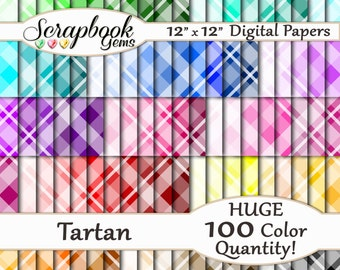 """100 Colors Tartan Plaid Papers, 100 Pieces, 12"""" x 12"""", 300 dpi High Quality JPEG files, Instant Download"""