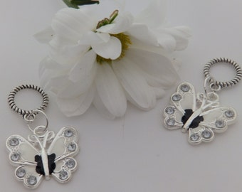 Set of Two black and white Butterfly Stitch Markers for knitting for needles up to 6 mm.