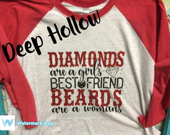 Diamonds and Beards Ragland 3/4 glitter shirt.