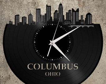 Columbus Skyline - Ohio Art Clock, Trendy Wall Clock, Cityscape Clock, Vinyl Record Clock,  Unique Wall Clock,  Large Wall Art, Novelty Gift