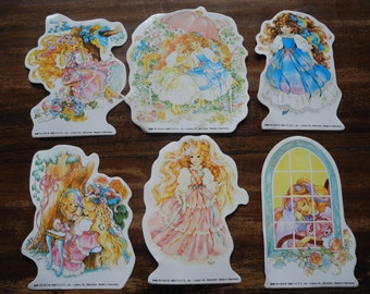 6 vintage lady lovely locks stickers