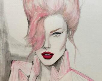 Rockabilly Inspiration Original Watercolor Fashion Illustration Painting