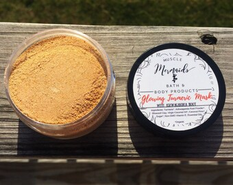 Turmeric Face Mask - Organic Turmeric Scrub - Glowing Turmeric Mask - with Ashwagandha Root 2 or 4 oz