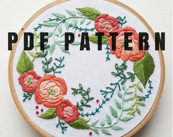 Digital Hand Embroidery Pattern: Delicate Roses - Needlepoint Design - Digital Download PDF - Modern Contemporary Embroidery