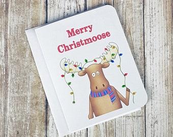 Merry Christmoose - Christmas Card - Greeting Card - Moose Christmas Card - Moose Card - Funny Card - Christmas Pun Card - Christmas Lights