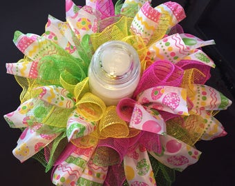 """17"""" Easter/Spring Deco Mesh Centerpiece/Candle Holder (Bright Multicolor)"""