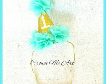 Baby 1st Birthday Hat, Mint flower birthday hat, Glittery Birthday Party Hat, Aqua and gold birthday hat, one party hat