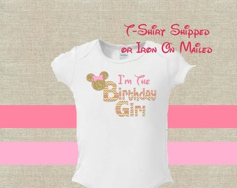 Birthday T-Shirt Shipped!! Minnie Mickey Mouse Mom Birthday Girl Shirt DIY Iron On Digital Art Matching Pink Gold Pregnancy Announcement