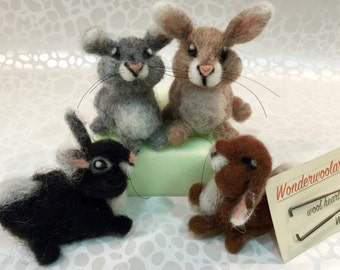 Bunny needle felting kit, rabbit needle felting kit, DIY felting kit, DIY bunny, felting Easter kit, wool bunny, wool rabbit, felted rabbit