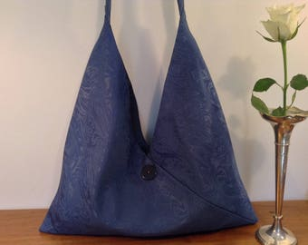 Handmade Messenger Handbag Shoulder Crossbody Bag Blue Damask Luxury Designed by AviBag
