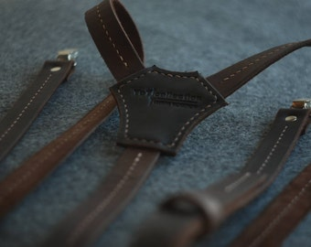 Leather suspenders, men's suspenders, leather braces, wedding, men's braces, handmade suspenders, Brown  braces