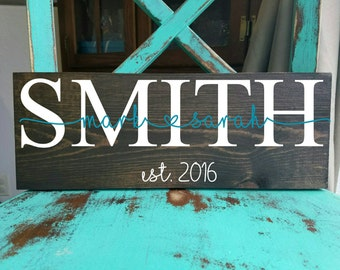Rustic name and established wood sign, rustic wood sign, wedding gift, personalized wedding gift sign.
