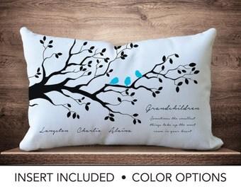 Grandchildren Family Tree Pillow - Personalized grandparent gift - Grandma birthday - Grandmother Gifts - grandma Tree grandchildren