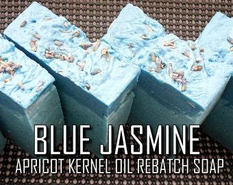 Blue Jasmine Rebatch Soap   Pure Vegan Jasmine/Lavender Oil 100% Sustainable Palm/Apricot Kernel Oil Glycerin Aphrodisiac Soap