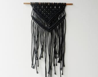 Navy Blue Macrame Wall Hanging by Courtney Blackwell
