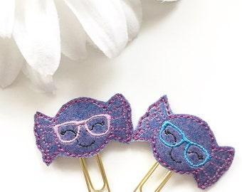 Hard Candy Purple Glitter Planner Clip - Choose Purple Glasses or Blue Glasses - Planner Accessories - Bookmark - Teacher Gift - Small Gift