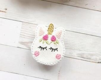 Macaron Rosy Cheeked Unicorn Embroidered Feltie Magnet - Home Decor - Glam Gift - Unicorn Gift - Unicorn Lover - Refrigerator Magnet
