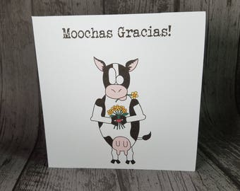Moochas Gracias!Muchas Gracias!Thank You! Funny cow animal pun greetings card handmade by Relephant Cards. Customisable or blank for message