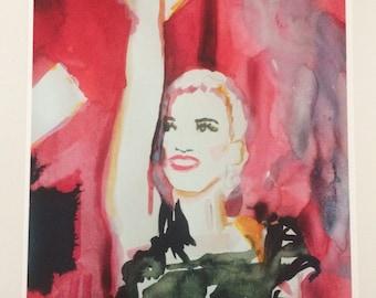 Gwen Stefani in concert illustration print
