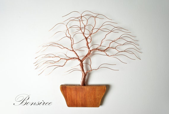 contemporary metal wall art decor sculpture wood bonsai pot modern
