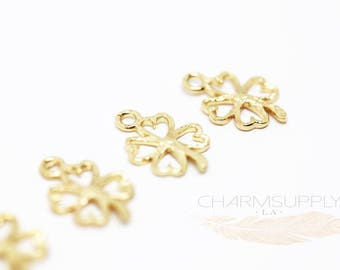 10 PCS Gold Plated Four Leaf Clover Charm