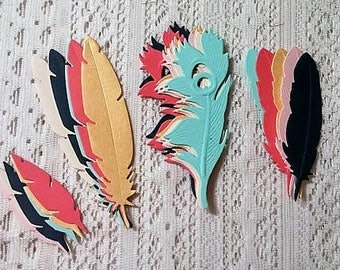 Feather die cuts/embellishments. Dream catcher/ tribal/boho Party shower decorations. Thanksgiving/scrapbook.Choose any color & the quantity