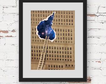 starry art print, urban city wall art, abtract collage print, surreal art print wall art for teens, surreal architecture night sky art print