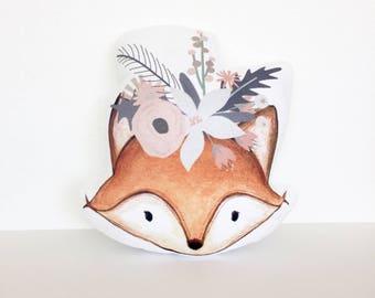 Bohemian Fox Pillow, Woodland Nursery, Fox Cushion, Hippie Fox, Woodland Creature Decor, Baby Girl Gift, Nursey Pillow