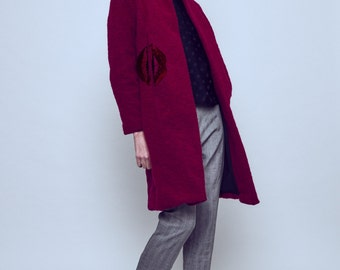 SALE -50% Textured red wool coat