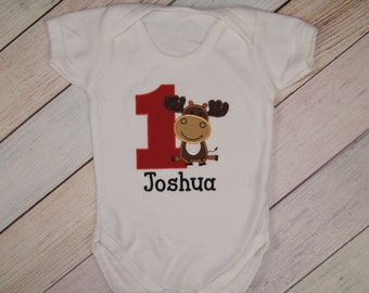Moose Birthday Bodysuit - Moose First Birthday Outfit - Moose Shirt - Moose Bodysuit - Baby Bodysuit - Boys Smash Cake Outfit - Moose Outfit