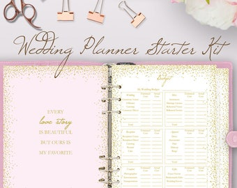 Glitter Pink Wedding planner book, wedding planning book, planner printable, planning binder printables, checklist plan, instant download