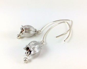 Silver Flower Earrings Tulip Flower Dangle Earrings Silver Tulip Flower Drop Earring Tulip Jewelry Nature Botanical Floral Jewelry Gift Idea