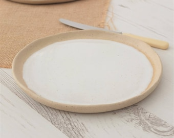 Handmade ceramic side plate, white pottery plate, white ceramic side plate, pottery, handmade plate, dinnerware, kitchen, dining, cake plate