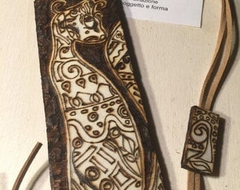 Hand crafted wooden bookmark pyrography
