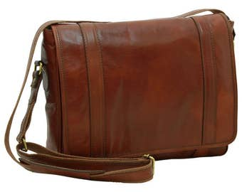 Leather Messenger/Messenger Bag/13 Inch Laptop Bag/Italian Leather/Handmade Bag/Made In Italy