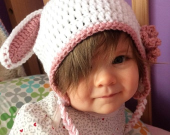 Easter Infant Hat!  White Bunny hat with pink ears and Pink flower!