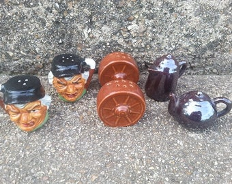 Lot of 3 sets of Vintage Salt and Pepper Shakers Wagon Wheel Toby Head Tea and Coffee pots