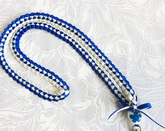 Personalized badge lanyard ID holder/Neck strap/Key chain/Badge Holder/Nurse/Student/Teacher/X'mas Present/2colors ribbbon/blue/white