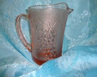 Pink  Pitcher Creamer Glass KIG INDONESIA Pink Pressed Glass Harvest Grape
