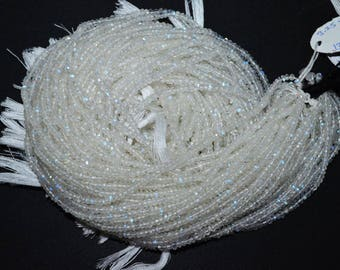 "White Rainbow Moonstone Faceted Rondelle Beads , 13"" Strand - White Rainbow Moonstone Rondelle , 3.5-4 mm"