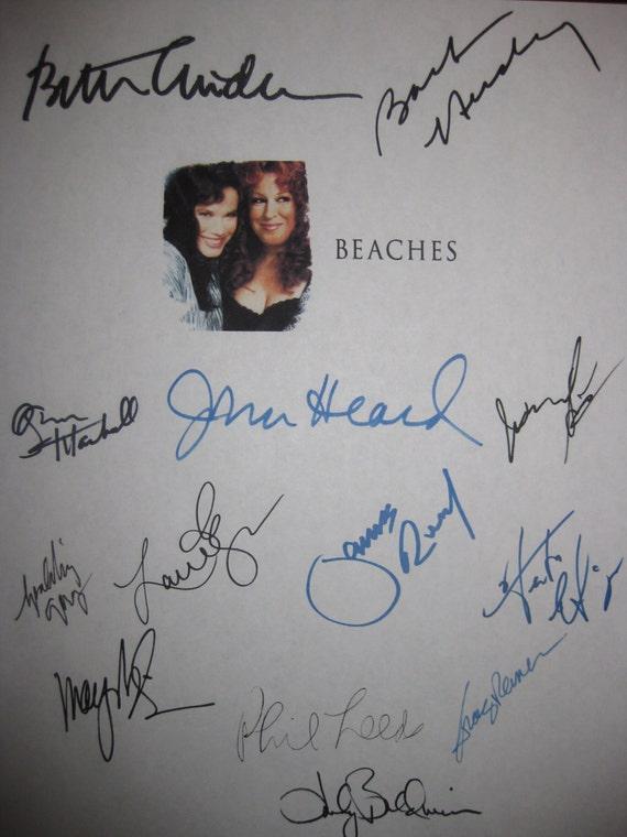 Beaches Signed Movie Film Script Screenplay X13 Autographs Bette Midler Barbara Hershey John Heard Mayim Bialik Spalding Gray James Read