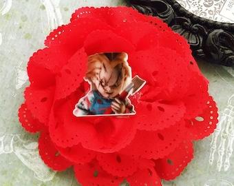Chucky - red eyelet flower clip, large rose, horror inspired