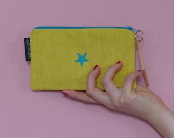 Kit /Trousse yellow star / girl Kit / zip pouch / star pattern / yellow canvas bag / pouch was / yellow tote bag