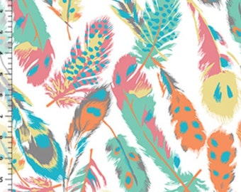 Desert Sky Feathers pastel KNIT fabric by the YARD  - bolt spandex
