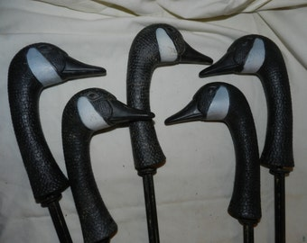 Canada Goose Decoys - Plastic Goose Heads on Stakes - Art / Craft Supply or Hunting Decoys - Home, Cabin or Cottage Decor / Decoration 54-5