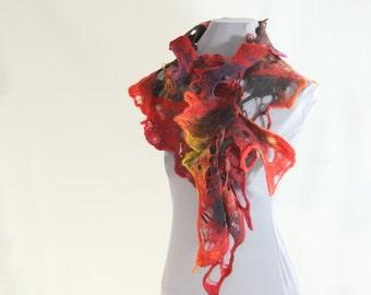 woolen scarf, red tones scarf, felted scarf, cobweb scarf, hand felted scarf, 100% wool scarf, light airy scarf, soft scarf, short scarf