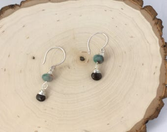 Candy jade and smokey quartz briollette earrings